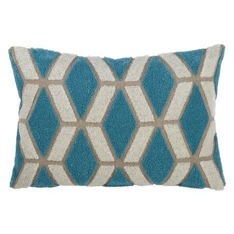 Saro Lifestyle Embroidered Geometric Design Decorative Throw Pillow