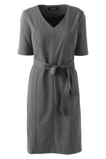 Women's' Washable Wool Short Sleeve Vneck Sheath Dress with Removable Belt