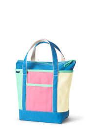 Colorblock Medium Zip Top Canvas Tote Bag