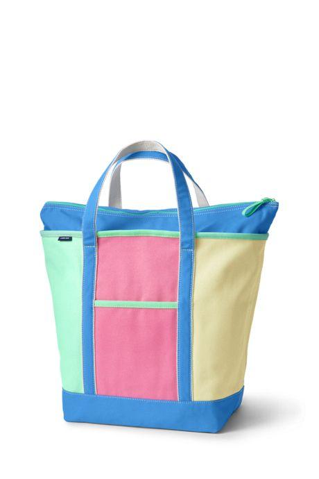 Colorblock Large Zip Top Canvas Tote Bag