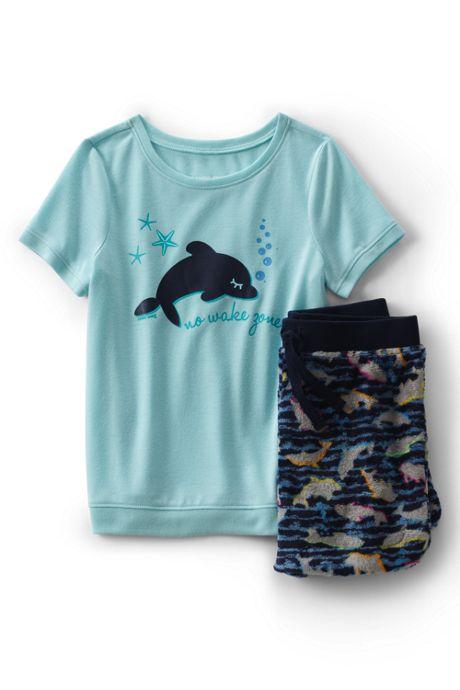 Girls Short Sleeve Tee & Soft Plush Fleece Shorts Pajama Set