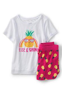 Kurzes Pyjama-Set mit Grafik für Mädchen