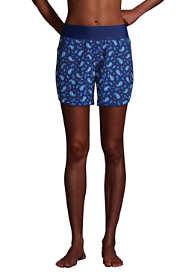 "Women's Curvy Fit 5"" Quick Dry Elastic Waist Swim Shorts with Panty Print"