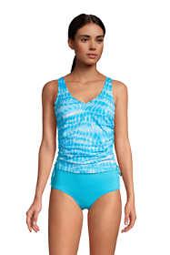 Women's Petite Chlorine Resistant Adjustable V-neck Underwire Tankini Top Swimsuit Adjustable Straps