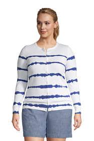 Women's Plus Size Fine Gauge Cotton Cardigan Sweater Print