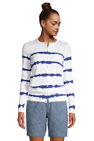 Women's Tall Fine Gauge Cotton Cardigan Sweater Print