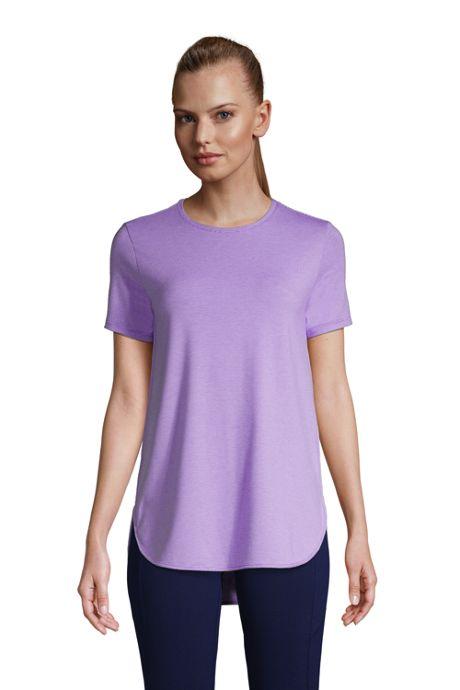 Women's Moisture Wicking UPF Sun Short Sleeve Curved Hem Tunic Top