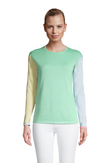 Women's Fine Gauge Cotton Colourblock Crew Neck Jumper