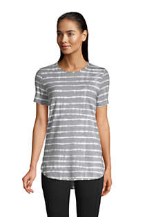Women's Petite Moisture Wicking UPF Sun Short Sleeve Curved Hem Tunic Top-Print, Front