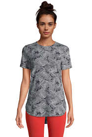 Women's Moisture Wicking UPF Sun Short Sleeve Curved Hem Tunic Top-Print