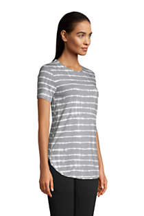 Women's Petite Moisture Wicking UPF Sun Short Sleeve Curved Hem Tunic Top-Print, alternative image