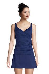 Women's Petite Chlorine Resistant V-Neck Wrap Underwire Tankini Top Swimsuit Adjustable Straps
