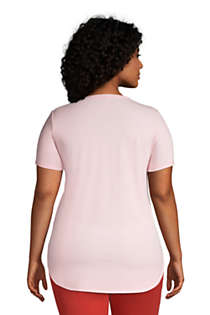 Women's Plus Size Moisture Wicking UPF Sun Short Sleeve Curved Hem Tunic Top, Back