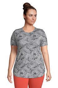 Women's Plus Size Moisture Wicking UPF Sun Short Sleeve Curved Hem Tunic Top-Print