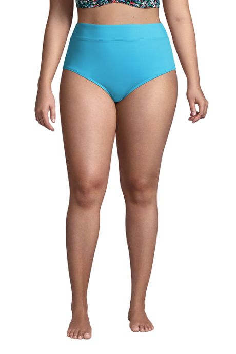 Women's Plus Size Chlorine Resistant Tummy Control High Waisted Bikini Bottoms