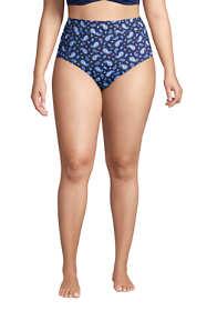 Women's Plus Size Chlorine Resistant Tummy Control High Waisted Bikini Bottoms Print