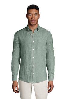 Men's Roll Sleeve Linen Shirt