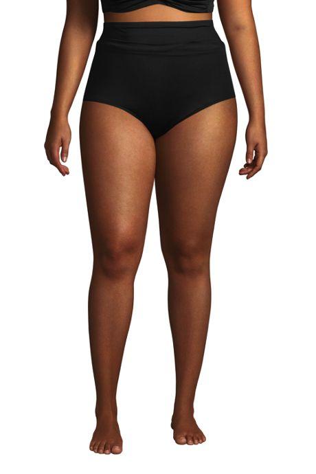 Women's Plus Size Chlorine Resistant Tummy Control Ultra High Waisted Modest Bikini Bottoms