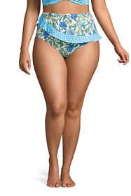 Women's Plus Size Chlorine Resistant Faux Wrap High Waisted Bikini Bottoms