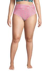 Women's Plus Size Chlorine Resistant Twist Front Retro High Waisted Bikini Bottoms