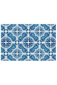 Bungalow Flooring Skid Resistant Mosaic Tile Print Floor Mat