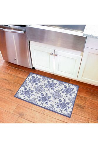 Bungalow Flooring Skid Resistant Floral Floor Mat