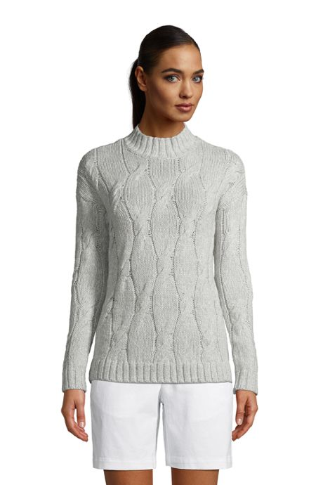Women's Cotton Blend Cable Mock Pullover Sweater