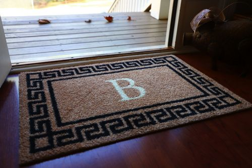 Bungalow Flooring Monogrammed Greek Key Doormat