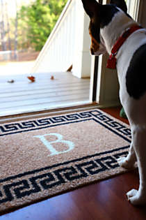 Bungalow Flooring Monogrammed Greek Key Doormat, alternative image