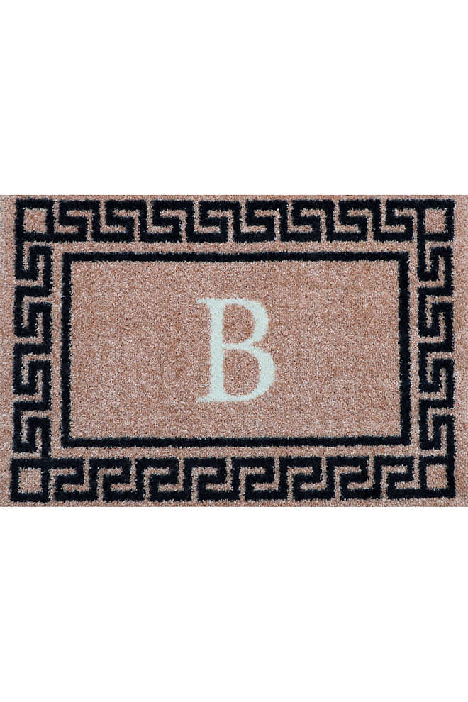 Bungalow Flooring Monogrammed Greek Key Doormat, Front