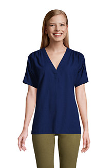 Women's Cotton Blend Dobby Popover Top