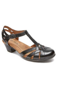 Women's Narrow Width Cobb Hill Aubrey Leather T-Strap Heels