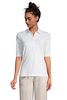Poloshirt aus Leinenmix für Damen