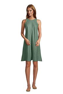 Women's Sleeveless Pure Linen Swing Dress