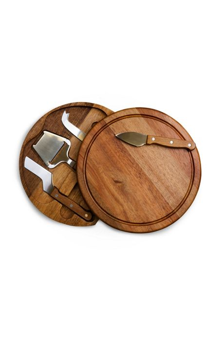 Picnic Time Round Wooden Cheese Cutting Board With Tools