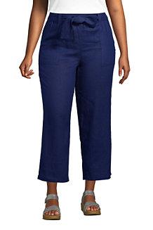 Women's Wide Leg Pure Linen Cropped Trousers