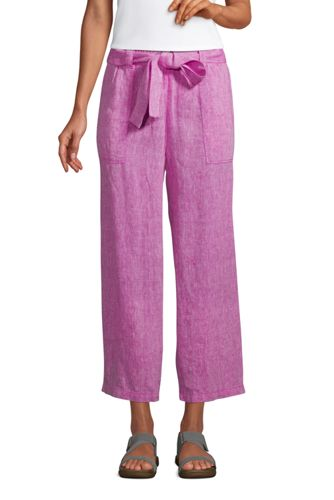 Women's Plus Wide Leg Pure Linen Cropped Trousers