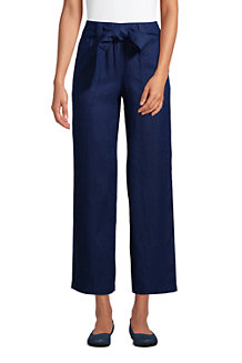 Women's Wide Leg Pure Linen Cropped Trousers
