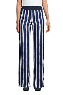 Pantalon Large en Lin Taille Haute, Femme