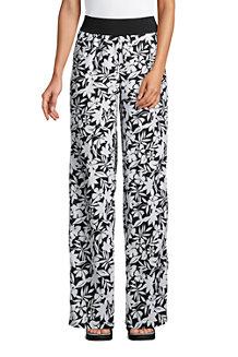 Women's Wide Leg Pure Linen Pull-on Trousers