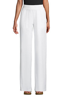 Women's Wide Leg Pure Linen Pull-on Trousers