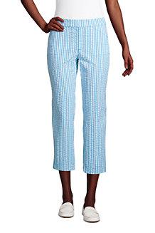 Pantalon 7/8 en Seersucker Stretch Taille Mi-Haute, Femme