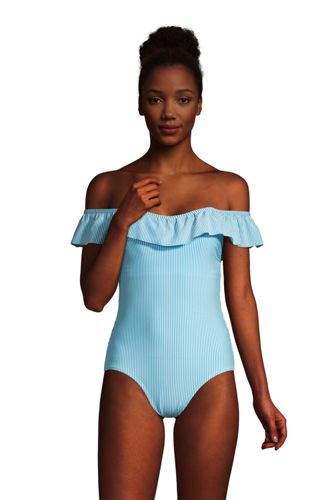 Women's Chlorine Resistant Off The Shoulder Ruffle Swimsuit