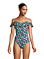 Women's Long Chlorine Resistant Off The Shoulder Ruffle Swimsuit