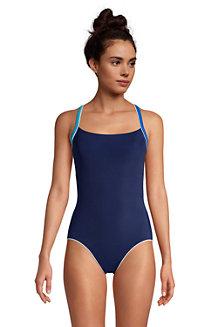 Badeanzug CHLORRESISTENT mit Paspeln für Damen