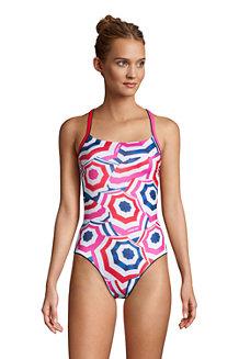 Badeanzug CHLORRESISTENT mit Paspeln Gemustert für Damen