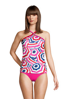 Women's Chlorine Resistant Piped Halter Neck Tankini Top