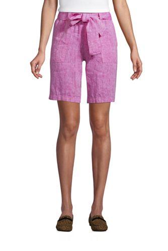 Bermuda en Lin Taille Haute, Femme Taille Standard