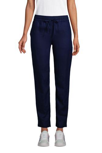 Pantalon Jogger en Lin Taille Mi-Haute Elastiquée, Femme Stature Standard