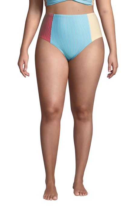 Women's Plus Size Chlorine Resistant Retro High Waisted Bikini Bottoms Seersucker